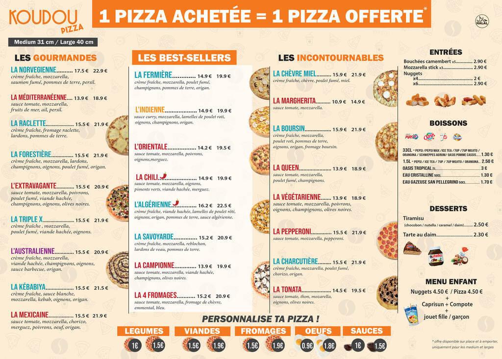 Carte Pizza KOUDOU Gennevilliers Janvier 2021